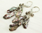 SALE! Brown Biwa Pearl Earrings, Sterling Silver, Leverback, Bronze Freshwater Biwa Stick Pearl, Smoky Quartz Dangle, Fall Autumn Earrings