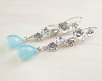 SALE Aqua Blue Chalcedony Earrings, Aqua Silver Flower Earrings, Aqua Gemstone, Blue Dangle, Sterling Silver Aqua Floral Dangle