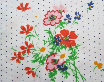 Vintage Sheet Fabric Fat Quarter – Floral Bouquets Daisies Red Yellow Orange Green Blue Dots