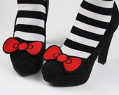 Cue Bow Shoe Clips, Kitty Bows, Red and Other Colours- Black FRiday Cyber Monday