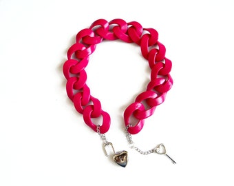 Lock Statement Necklace, Fuchsia Pink Chunky Necklace, Oversized Chain Link Necklace