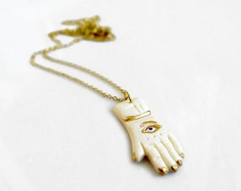 Hand Necklace, Layering Hamsa Necklace, Hand Carved Pendant Necklace, Fatima Hand
