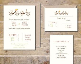Bicycle Wedding, Printable Wedding Invitation, DIY Wedding Invitation, Digital File, Print At Home, PDF, Bike Wedding Invitations, Bikes