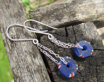 Red White and Blue Vintage Glass and Sterling Silver Dangle Earrings