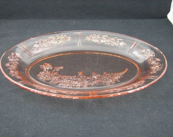 Vintage Sharon, Cabbage Rose Pink Oval Platter, Two Available