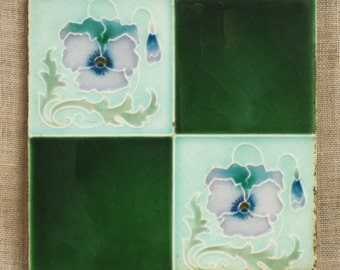 Antique Ceramic Tile , England , Art Nouveau , Art Deco , Arts and Crafts , Tiles , Ceramic , Green , Luster Ware , English , Architectural