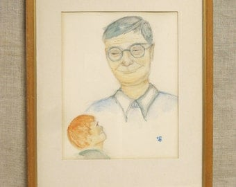 Male Portrait , Watercolor Painting , Father and Son , Original Art , Fine Art , Framed Painting , Man in Glasses , Young Child , Male Child