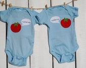 """Twin bodysuits """"ToMAYto, ToMAHto"""", Tomato Twin set of onesies, great baby shower gift for twins, Tomatoes onesies"""