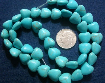 43 Treated Magnesite created Turquoise 10x10mm heart shaped beads 16 in BS052
