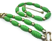Art Deco Jewelry Set 1930s Mint Green Demi Parure Necklace and Bracelet - 30s Ribbed Green Resin and Metal Jewelry Set Matching Deco Jewelry