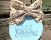 Baby Boy~wood ornament with gray and antique white damask ribbon