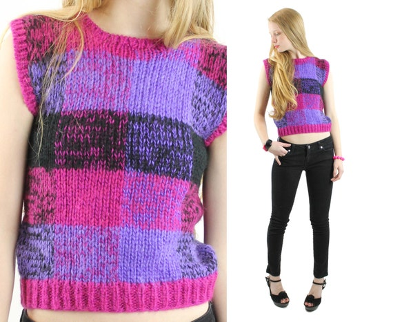 Vintage 80s Sweater Vest Plaid Chunky Knit Sweater Small S Medium M Sleeveless Top PreppySweater Vest 1980s Womens Fashion Purple Vest