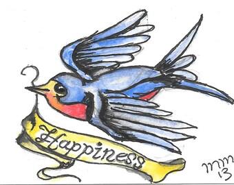 Bluebird of Happiness Tattoo Design Original Watercolor ACEO