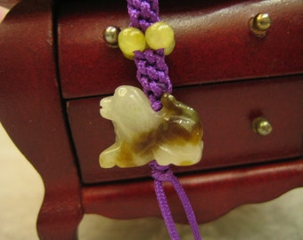 LOVELY DOG . . . . . Natural Jade Charm ..Handknoting Jewelry