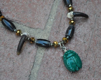 Egyptian Scarab and Real Coyote Claws Anubis Spirit Necklace