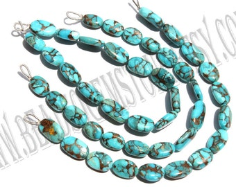 Blue Copper Turquiose Smooth Oval (Quality AA+) / 7.5x11 to 9x14 mm / 11 to 13 Grms / 18 cm / TURQ-002