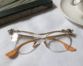 Vintage 1950's-1960's 12K Gold Fill Cat Eye Glasses with Rhinestones - B & L Gold Filled Rockabilly Specs