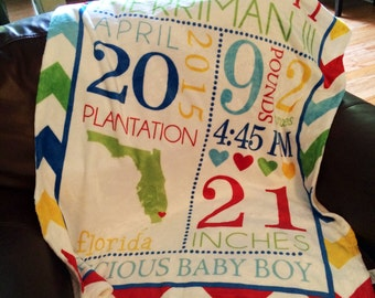 Personalized Baby Blanket - Subway Art
