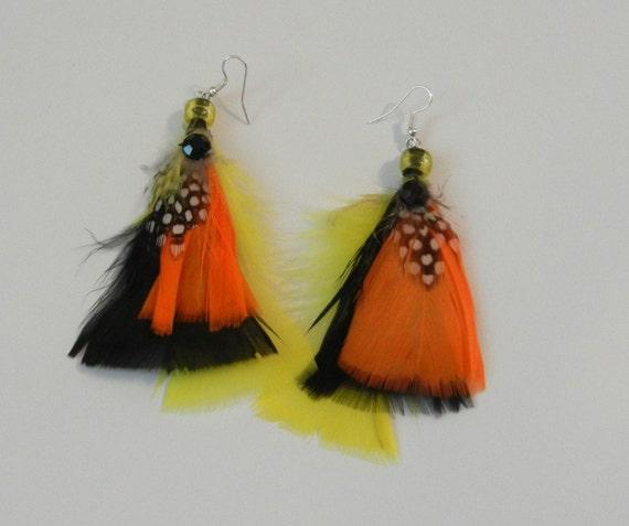 Orange-Black-Yellow Feather Earrings-Surgical Steel Wire Loop w/3-Beads w/1 Rhinestone