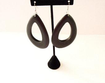 Vintage Black Wood Statement Earrings 3 Inches Pierced Tribal Dangling Earrings