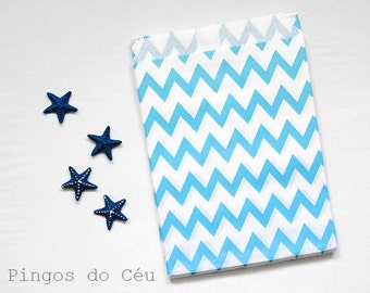 12 pcs - Blue Chevron Paper Bags - Treat Bags - Favor Bags - Party Supplies - Ready to ship