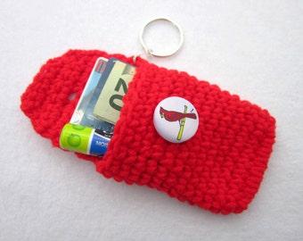 Crochet St. Louis Cardinals Inspired Purse Pouch Keychain, Red Crocheted Keychain with Cardinal Button, Small Wallet Keychain
