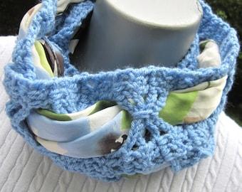 Crochet Infinity Scarf, Blue Scarf in a Scarf, Thin Crochet Neckwrap, Womens Accessory, Blue Neckwarmer by Charlene Winter Wear Gift for Mom