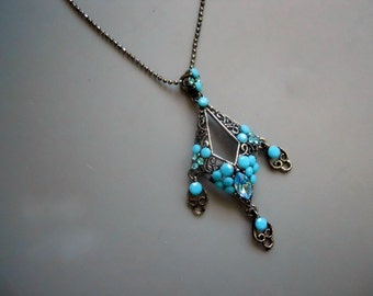Retro 90s Faux Plastic Turquoise and Real Blue Crystal Accent Silver Tone Metal Round Medallion Pendant Necklace