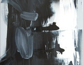Black and White Abstract Original Painting 16x20 limited time offer at 35 USD and FREE Shipping in the US, gallery wrapped stretched canvas