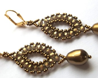 Beaded Woven Earrings in Gold with Pearl Dangle