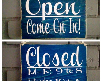 8x6 Two-Sided Open/Closed with Business Hours (Choose Color) Rustic Shabby Chic Handmade Wood Door Sign