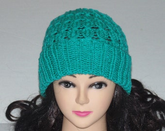 Aqua Knitted Hat, Slouchy Knit Hat, Winter Hat, Hand Knit Hat