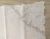 Vintage Linen White Handkerchief