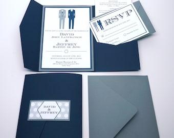 Two Suits Formal Pocket Fold Wedding Invitation SAMPLE