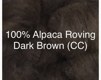 100% Alpaca Roving in Dark Brown (CC)