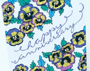 SALE - Happy Anniversary greeting card - Pansies - 50% off