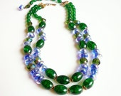 Hobe Necklace, Glass Beads, Lampwork Beads, Crackle Art Glass, Blue Green Purple, Vintage Necklace, Vintage Jewelry