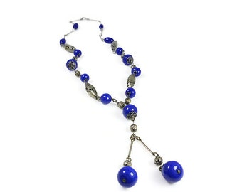 Art Deco Necklace, Cobalt Blue, Glass Bead, Silver, Pierced Beads, Sautoir Flapper, Antique Jewelry