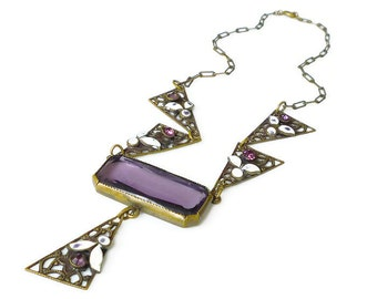 Art Deco Necklace, Czech Glass, Czech Art Deco, Purple Amethyst, Rhinestone, Filigree, White Enamel, Antique Jewelry