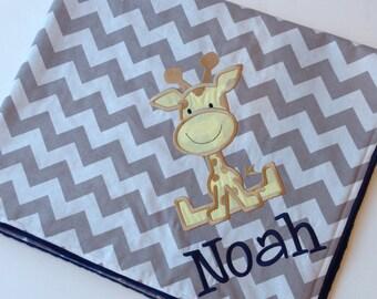 Personalized Baby Blanket- Giraffe Baby Blanket- Chevron Minky Blanket- Applique Baby Blanket- Custom Blanket-