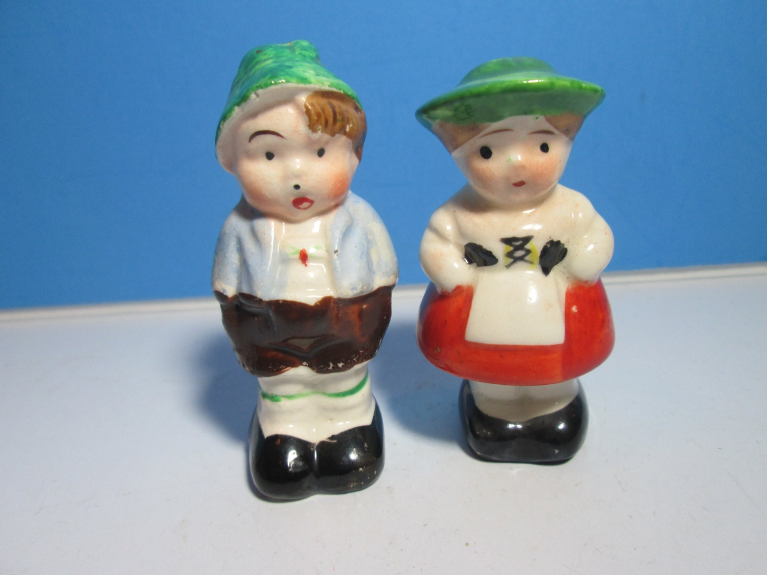 Vintage Ceramic Salt Pepper Shakers Little Boy And By