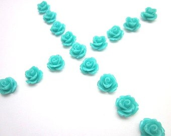 Teal Flower Supply -- Teal Cabochons -- Wholesale Mini Flower Supplies -- Teal Rose -- DIY Flower Pieces -- Mini Rose Flowers -- Teal Cabs