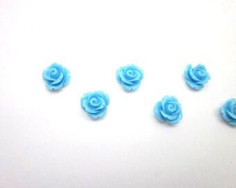Blue Rose Cabochons -- Mini Blue Flowers -- Light Blue Flower Supply -- Flat Back Blue Cabs -- 10mm Light Blue Cabochons -- Light Blue Cab