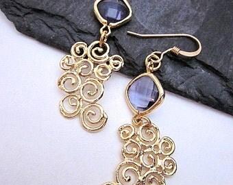 Purple Jewel Earrings -- Gold Spiral Earrings -- Purple and Gold Earrings -- Gold Spiral Jewelry -- Purple Glass Earrings
