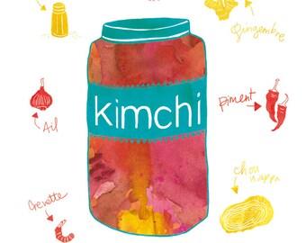 Kimchi Print Illustration, Kimchi Art Print, Kimchi Poster