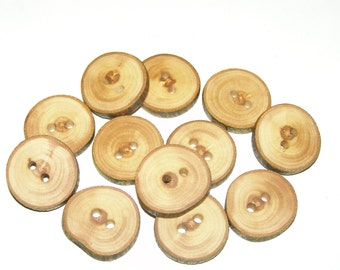 """12 Handmade apple wood Tree Branch Buttons with Bark, accessories (1,0"""" diameter x 0,20"""" thick)"""