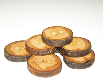 "7 Handmade plum wood Tree Branch Buttons with Bark, accessories (1,0'' diameter x 0,20"" thick)"