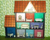 RARE Vintage Japanese Porcelain Mini Dollhouse Furniture in House Shadow Box