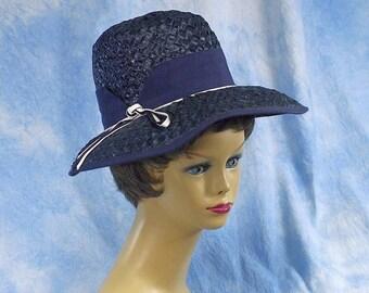 Vintage Navy Wide Brim Straw Hat, Audrey Hepburn Breakfast at Tiffanys Style