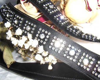 Black Ribbon & Rhinestone Trim Headband - Sash - Belt  (FREE SHIPPING)